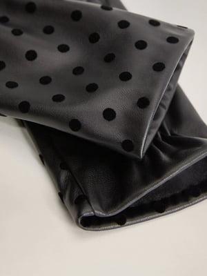 Рукавички чорні з декором-горохом | 5529634