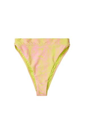 Трусы купальные розово-лимонного цвета в приглушенный принт | 5534864