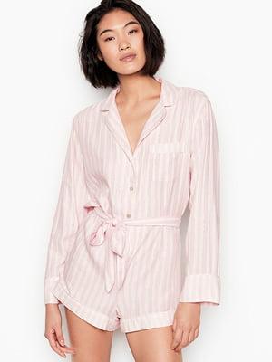 Комбинезон пижамный бело-розовый в полоску | 5534917