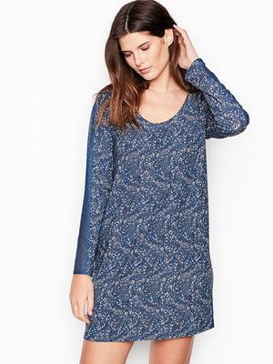 Сукня синя в принт | 5534920