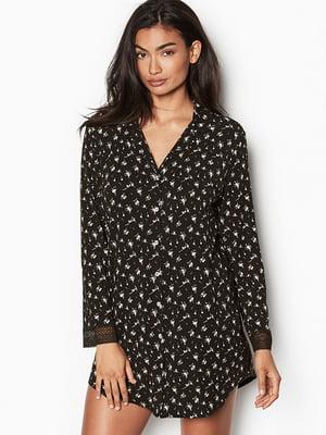 Платье-рубашка пижамное черное в цветочный принт | 5534929