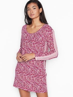 Сукня-туніка домашня рожева у принт | 5534931