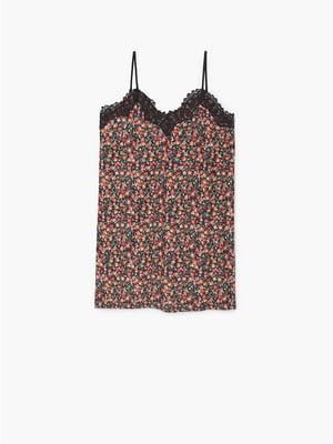 Платье черное в цветочный принт | 5535212