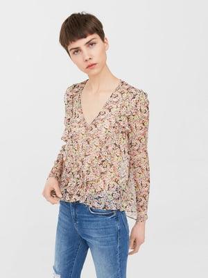 Блуза розово-коричневая в цветочный принт   5535220