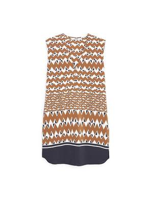 Платье коричневое в полоску и геометрический принт | 5535237