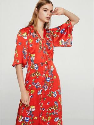 Сукня червоного кольору в квітковий принт | 5535243