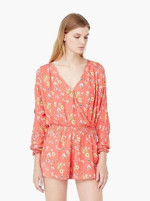 Полукомбинезон персикового цвета в цветочный принт | 5535538