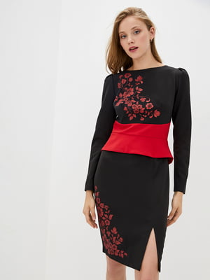 Сукня двоколірна з принтом | 5528147