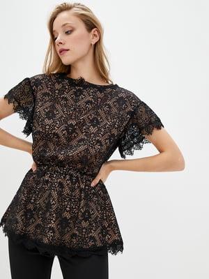 Блуза двухцветная в принт | 5533117
