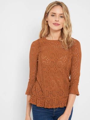 Блуза теракотового кольору з перфорацією | 5535794