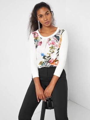 Блуза біла в квітковий принт | 5535799