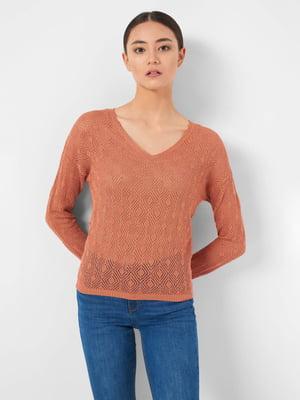 Пуловер теракотового кольору з візерунком | 5535835