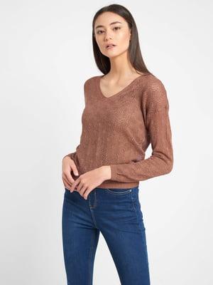 Пуловер коричневий з візерунком | 5535836