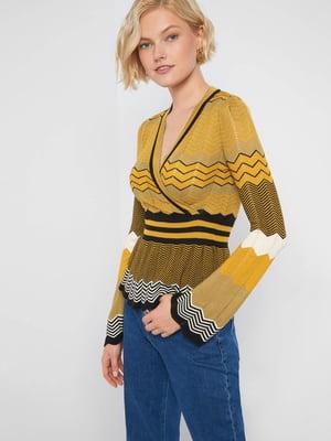 Пуловер різнокольоровий в смужку і з візерунком | 5535839