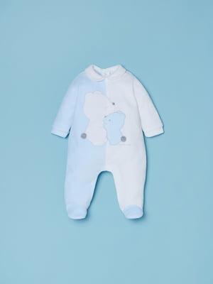 Комбинезон бело-голубой с принтом | 5536170