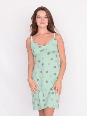 Нічна сорочка оливкового кольору у принт   5536481