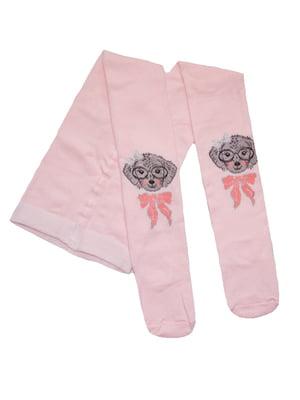 Колготки розовые с принтом | 5536563