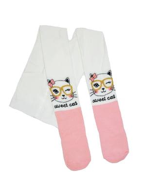 Колготки біло-рожеві з принтом | 5536567