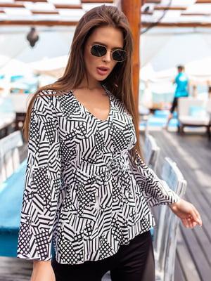 Блуза чорно-біла в принт | 5536964