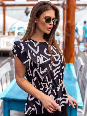 Блуза черно-белая в принт | 5536969