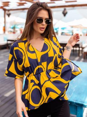 Блуза синьо-жовта в принт | 5536971