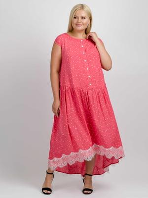 Сукня коралового кольору в горошок | 5538026