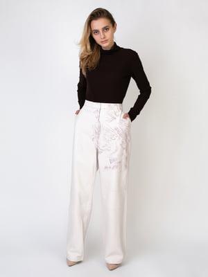 Штани кремового кольору з принтом | 5513973
