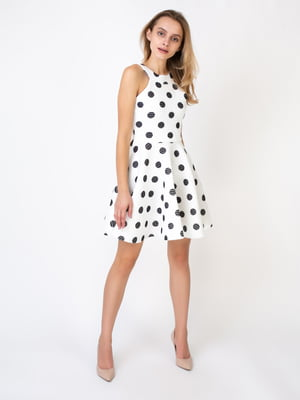 Платье молочного цвета в горошек и в полоску | 5527338