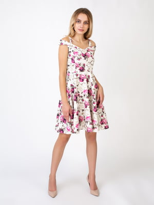Платье молочного цвета в принт | 5527340