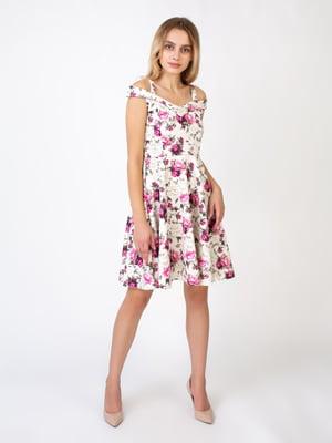 Сукня молочного кольору в принт | 5527340