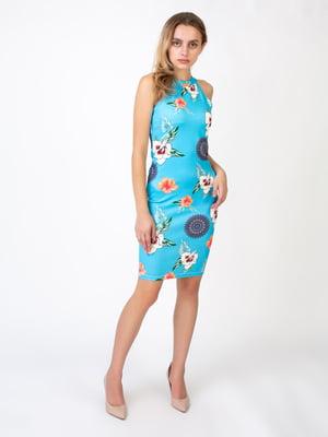 Платье голубое в принт | 5527342