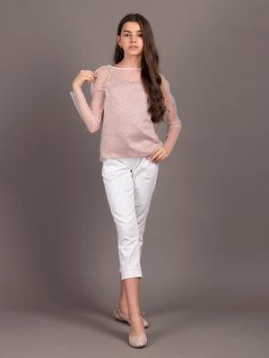 Блуза пудрового кольору в горошок   5537312
