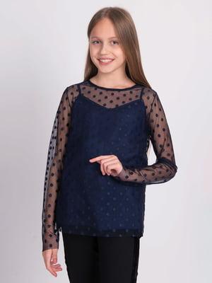 Блуза синя в горошок   5537313