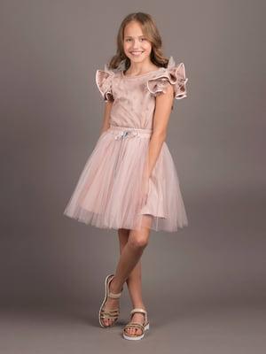 Блуза пудрового кольору в горошок   5537314