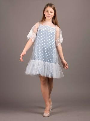 Сукня блакитна в горошок | 5537326