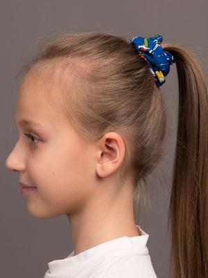 Резинка для волос синяя с цветочным принтом | 5538063