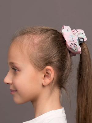 Резинка для волос розовая с цветочным принтом | 5538068