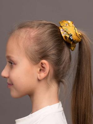 Резинка для волос желтая с цветочным принтом | 5538070