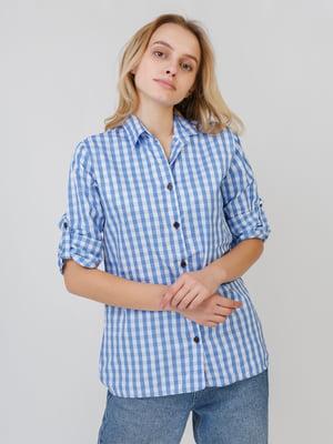 Сорочка блакитного кольору в клітинку   5526403