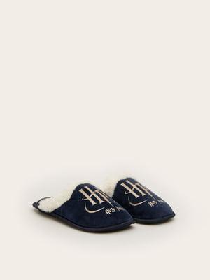 Тапочки темно-сині з принтом | 5538195