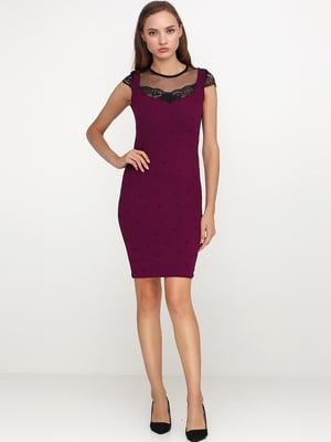 Сукня бурякового кольору з мереживом і декором | 5538376