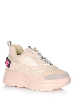 Кросівки бежеві з логотипом | 5539145