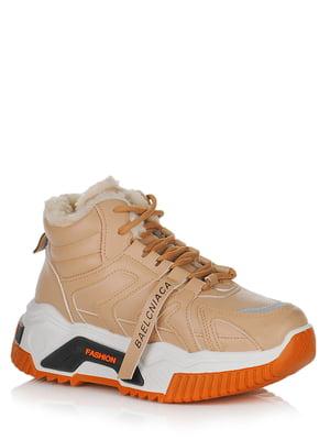 Кросівки бежеві з логотипом | 5539149