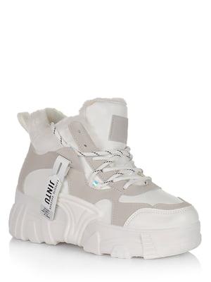 Ботинки бело-серые с логотипом | 5539172
