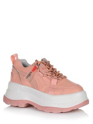 Кросівки рожеві з логотипом | 5539203