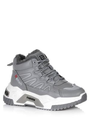 Ботинки серые с логотипом | 5539208