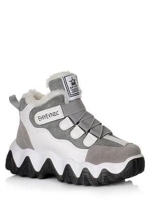 Ботинки серо-белые с логотипом | 5539214