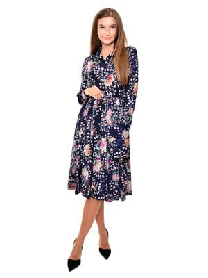 Платье синее в цветочный принт | 5539527