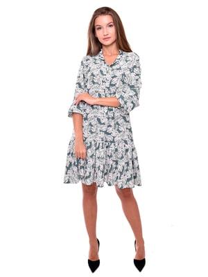 Платье бирюзовое в принт | 5539528