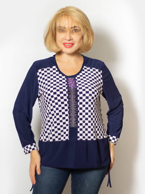 Блуза синя з візерунком і малюнком | 5539542